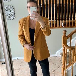 Pop84 Blazer Jacket Wool  Mustard Yellow Oversized
